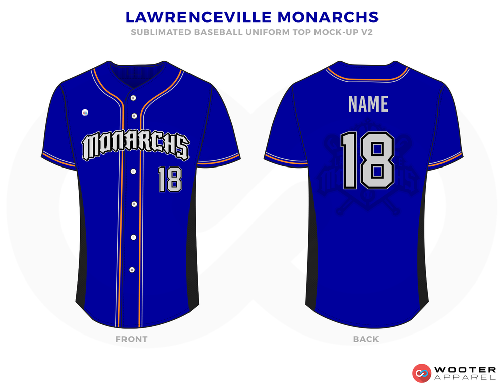 LAWRENCEVILLE MONARCHS Blue White and Pink Baseball Uniforms, Shirt