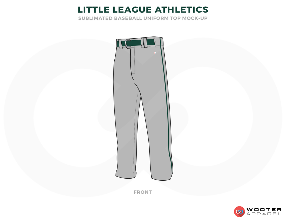 LITTLE LEAGUE ATHLETICS Gray and Green Baseball Uniforms, pants
