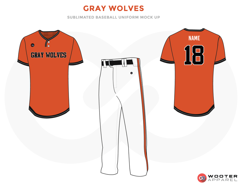 GRAY WOLVES Orange Black and White Baseball Uniforms, Shirt and Pants