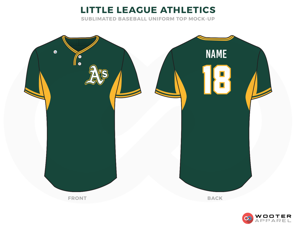 LITTLE LEAGUE ATHLETICS Green Yellow and White Baseball Uniforms, Shirt