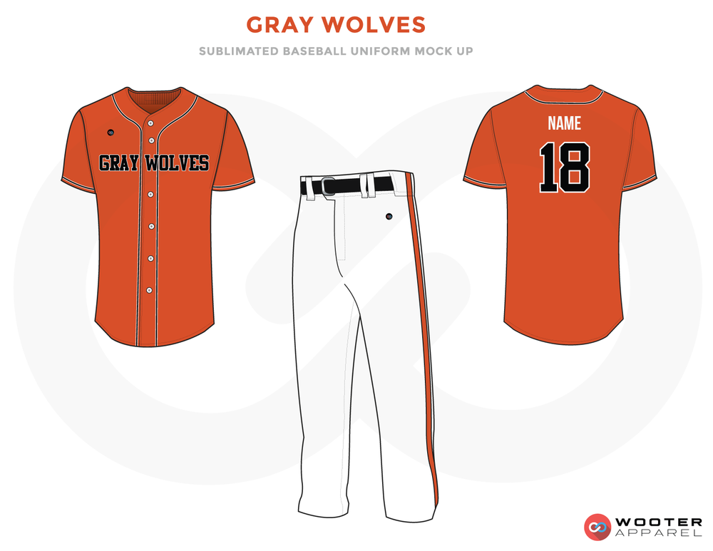 GRAY WOLVES Orange Black Blue and White Baseball Uniforms, Shirt and Pants