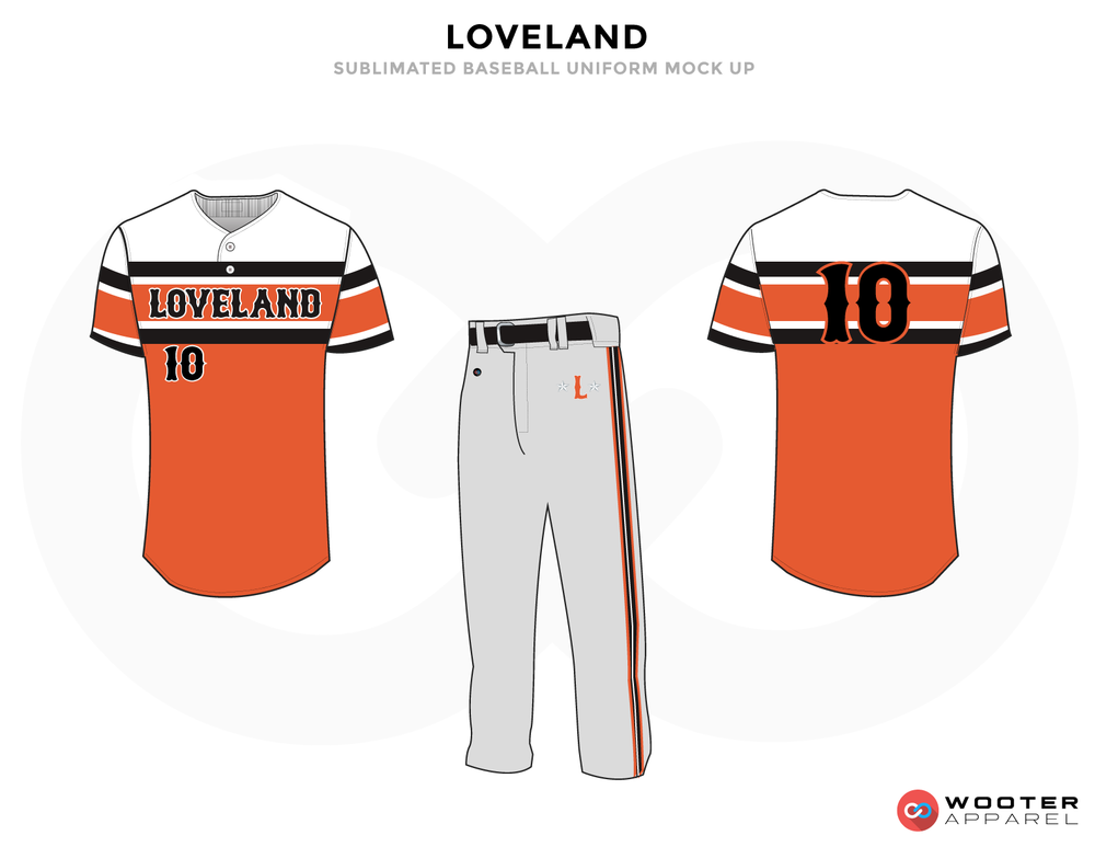 LOVELAND White Black Blue and Gray Baseball Uniforms, Shirt and Pants