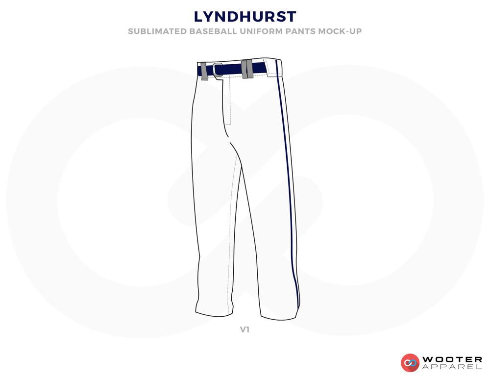 LYDHURST White and Blue Baseball Uniforms, Pants