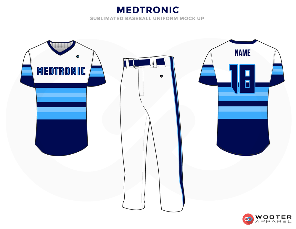 MEDTRONIC White Blue and Sky Blue Baseball Uniforms, Shirt and Pants
