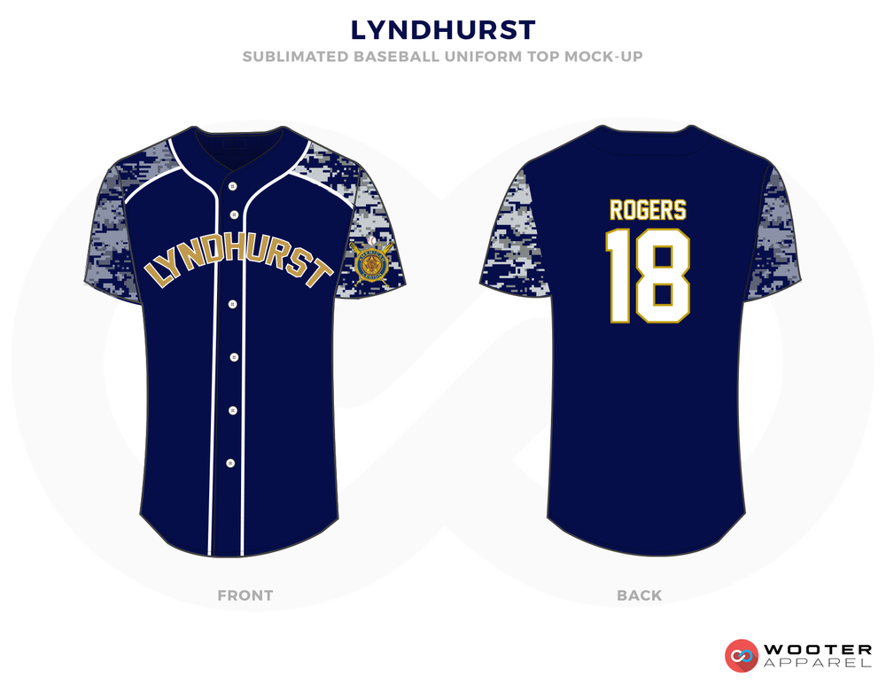 LYNDHURST Blue White Gray and Yellow Baseball Uniforms, Shirt