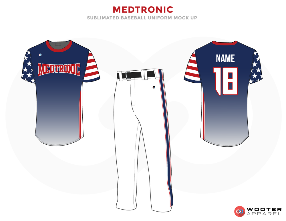 MEDTRONIC Red White Blue and Black Baseball Uniforms, Shirt and Pants