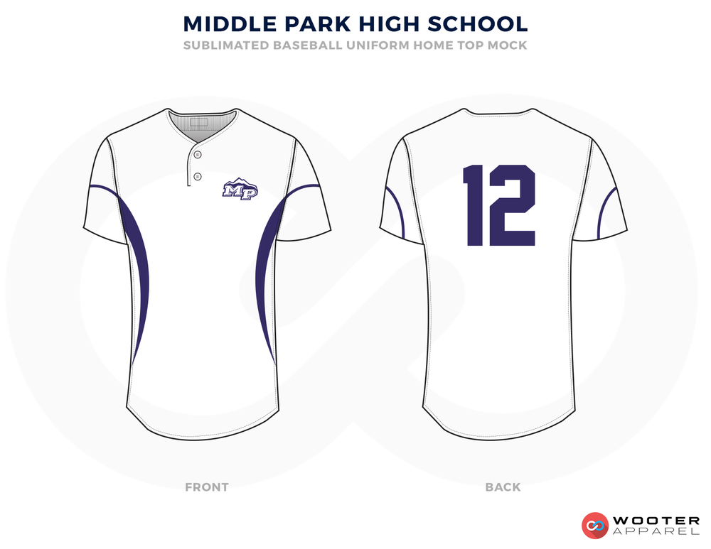 MIDDLE PARK HIGH SCHOOL Blue and White Baseball Uniforms, Shirts