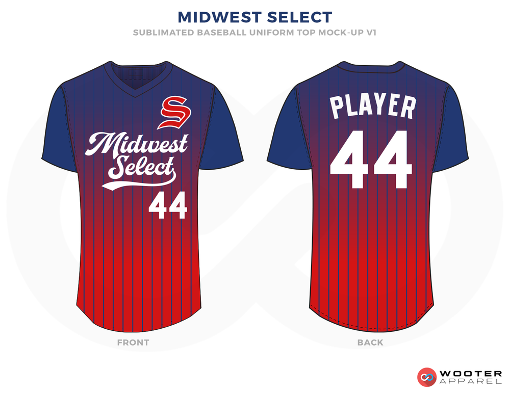 MIDWEST SELECT Purple Blue and Red Baseball Uniforms, Shirts