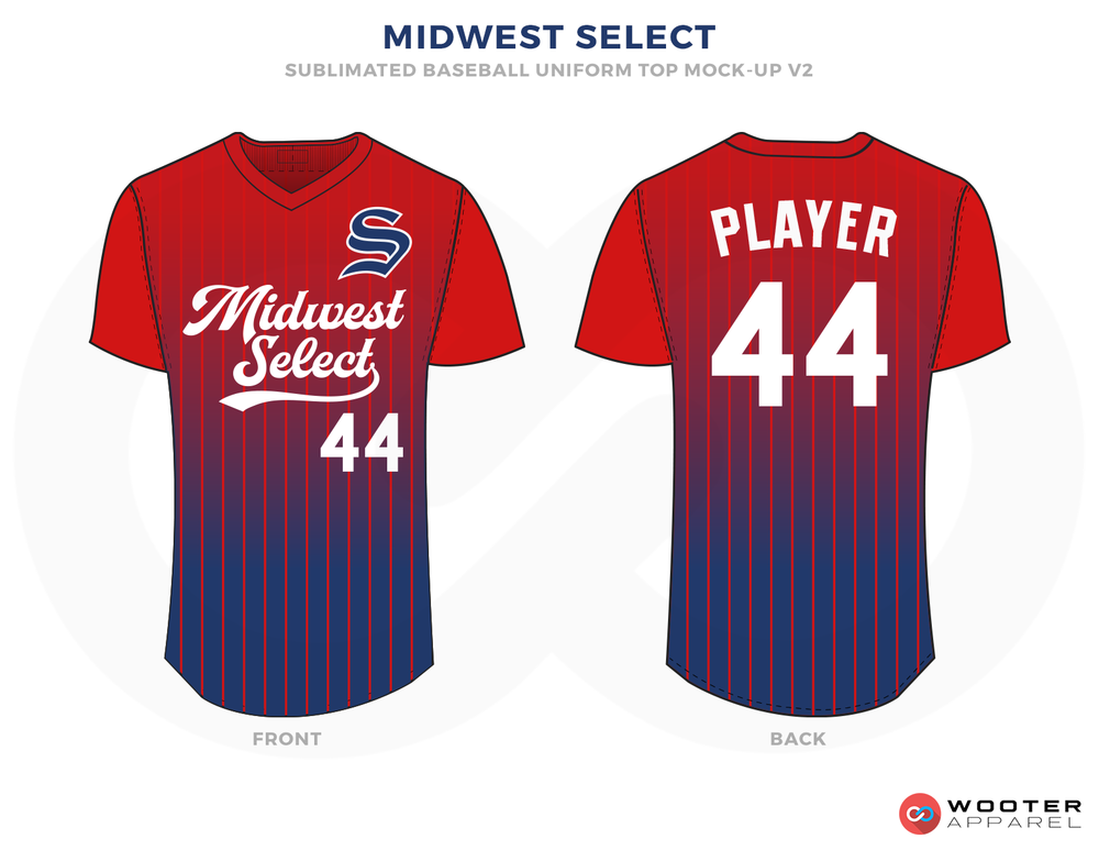 MIDWEST SELECT Red Blue and White Baseball Uniforms, Shirts