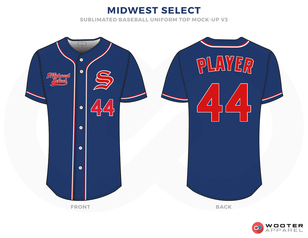 MIDWEST SELECT Blue and Red Baseball Uniforms, Shirts