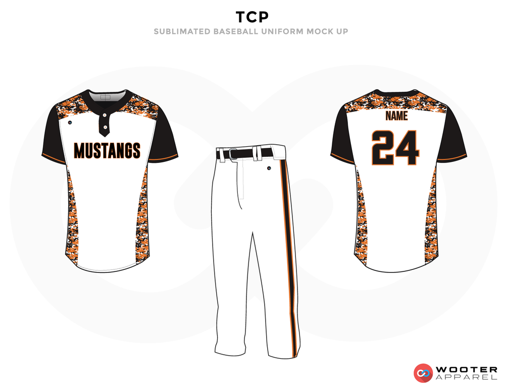 TCP White Brown and Black Baseball Uniforms, Shirt and Pants