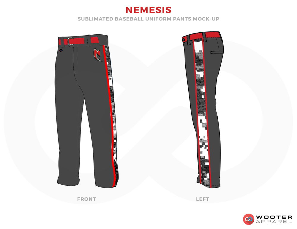 NEMESIS Gray White and Red Baseball Uniforms, Pants