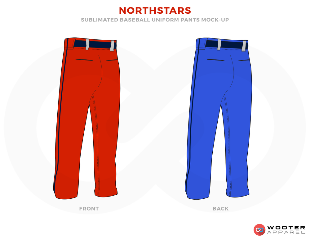 NORTHSTARS Blue and Red Baseball Uniforms, Pants