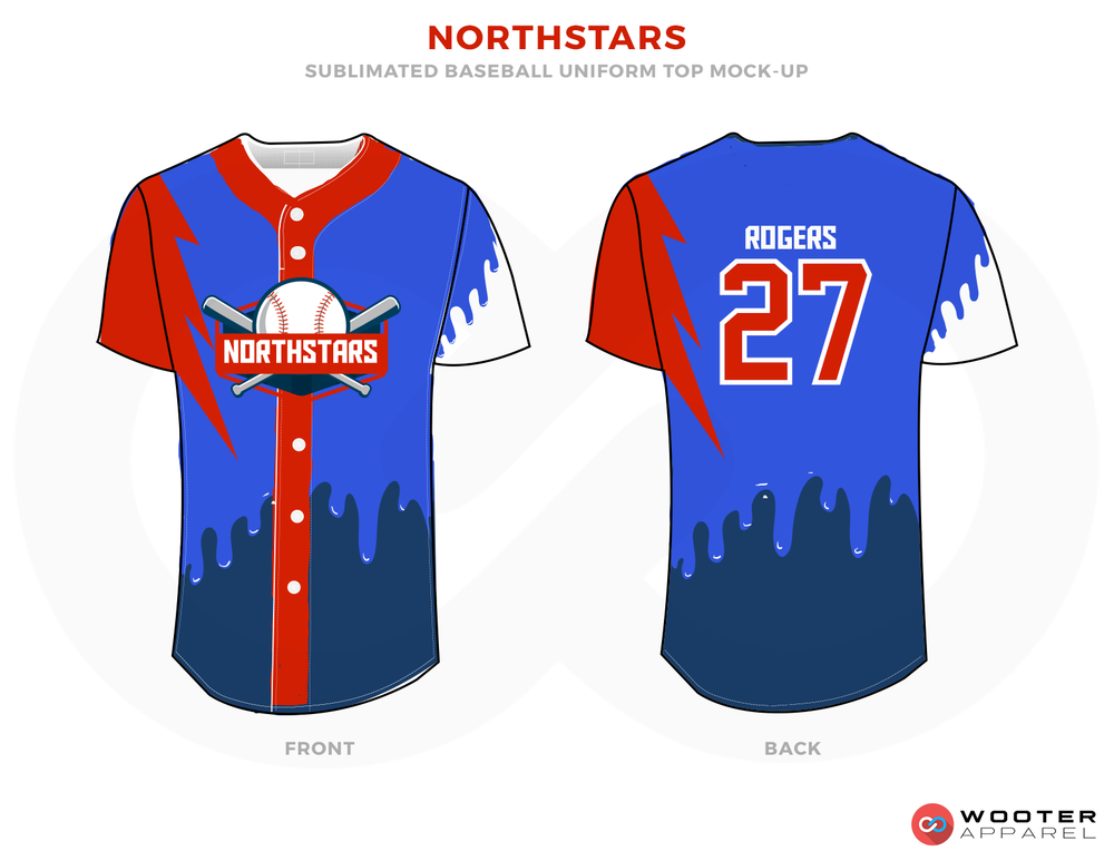 NORTHSTARS Red Blue and White Baseball Uniforms, Shirts