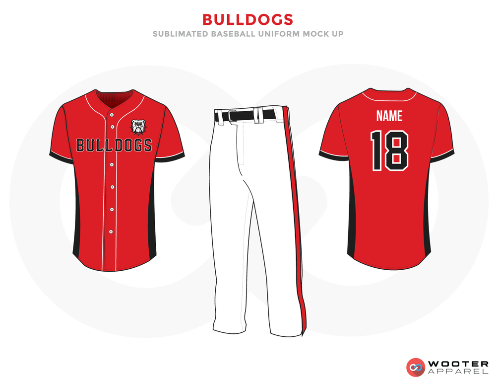 BULLDOGS Red White Black Baseball Uniforms, Shirt and Pants