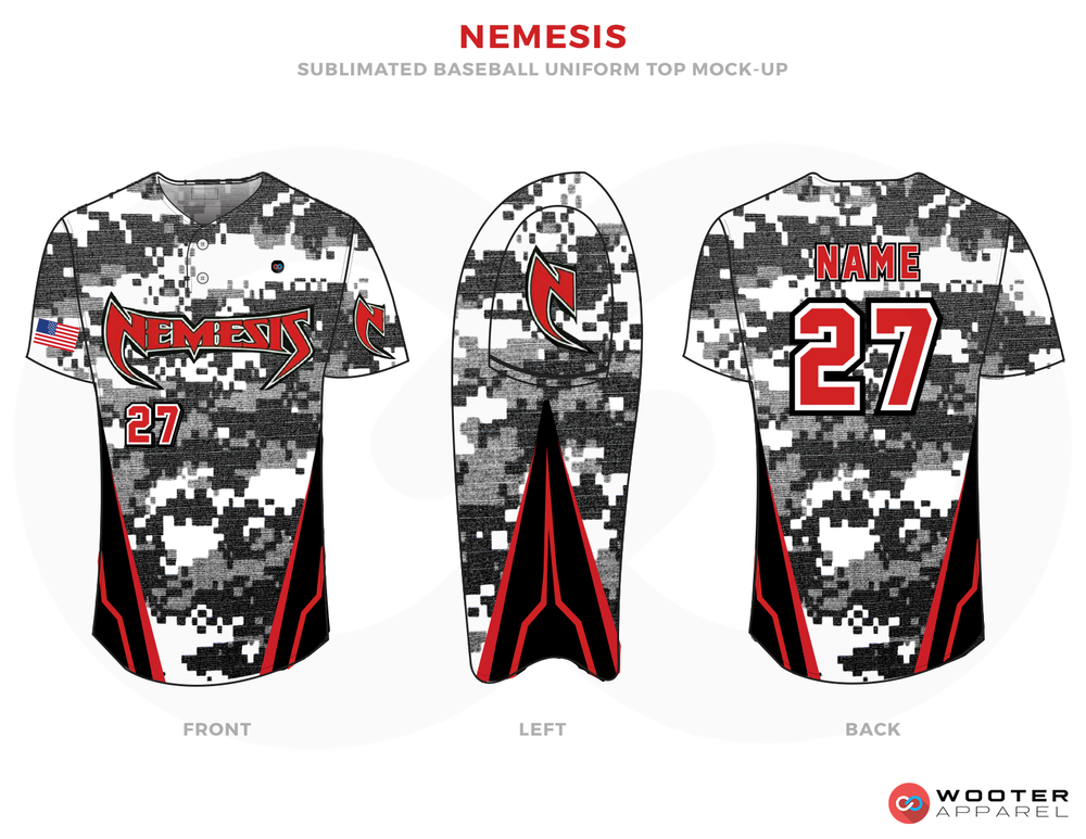 NEMESIS Black Gray White and Red Baseball Uniform, Shirt