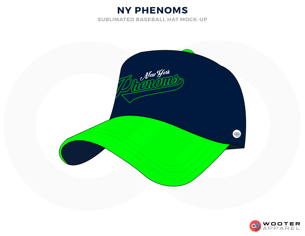NY PHENOMS Blue White and Green Baseball Uniforms, Caps