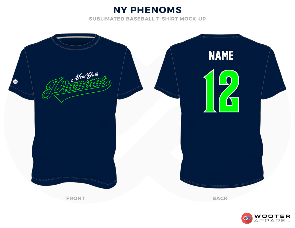 NY PHENOMS Green White and Blue Baseball Uniforms, Shirts