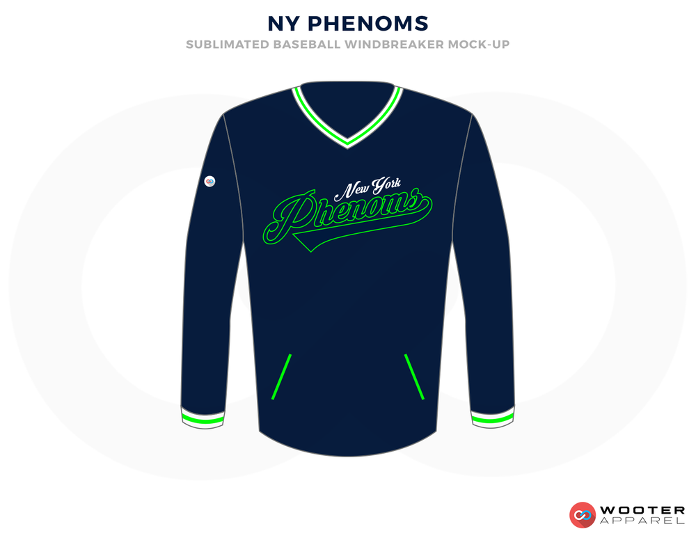 NY PHENOMS Blue Green and White Baseball Uniforms, Shirts
