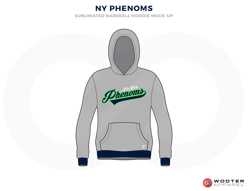 NY PHENOMS Gray White Black and Green Baseball Uniforms, Hood Shirts