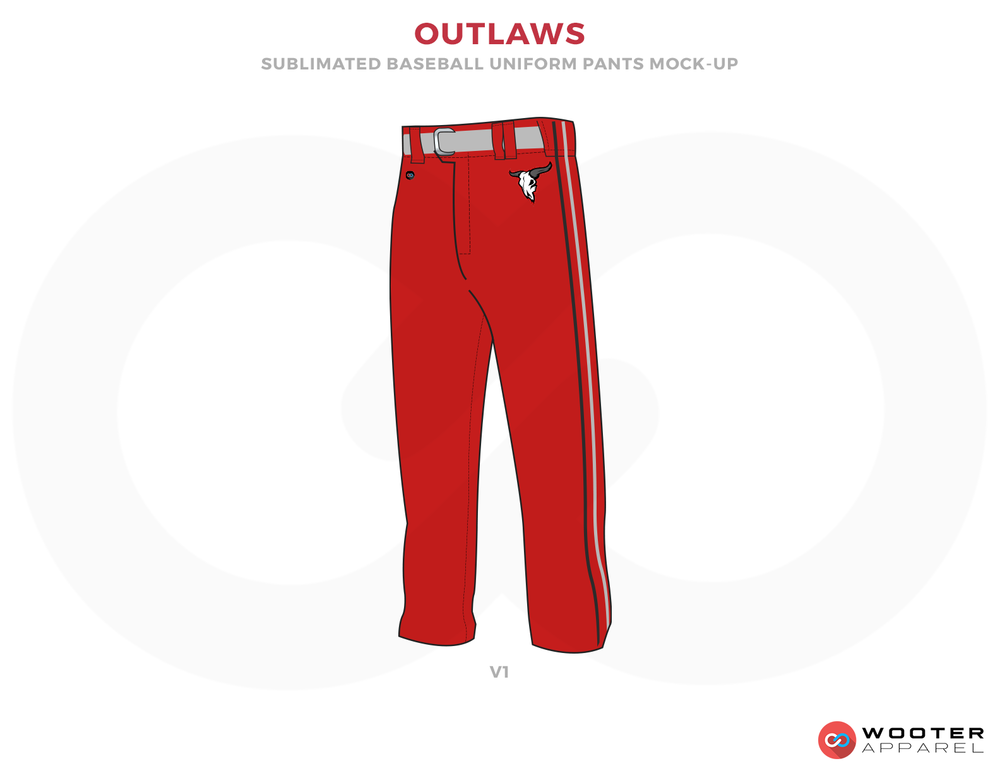 OUTLAWS Red and Gray Baseball Uniforms, Pants