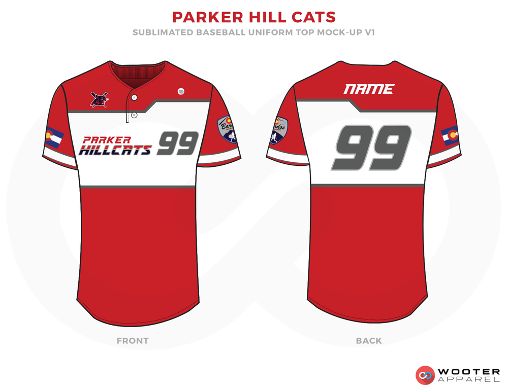 PARKER HILL CATS Red White and Black Baseball Uniforms, Shirts