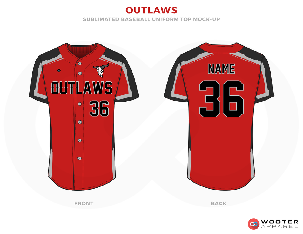 OUTLAWS Red Black and White Baseball Uniforms, Shirts