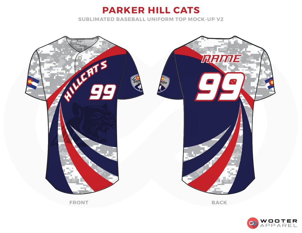 PARKER HILL CATS Gray Blue White and Red Baseball Uniforms, Shirts