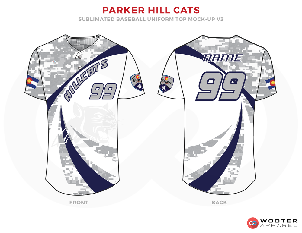 PARKER HILL CATS Blue Gray and White Baseball Uniforms, Shirts
