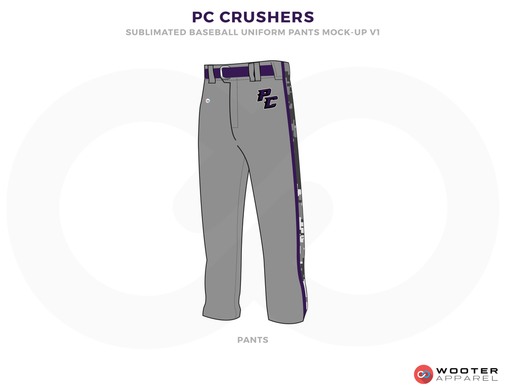 PC CRUSHERS Gray Blue Black Baseball Uniforms, Pants