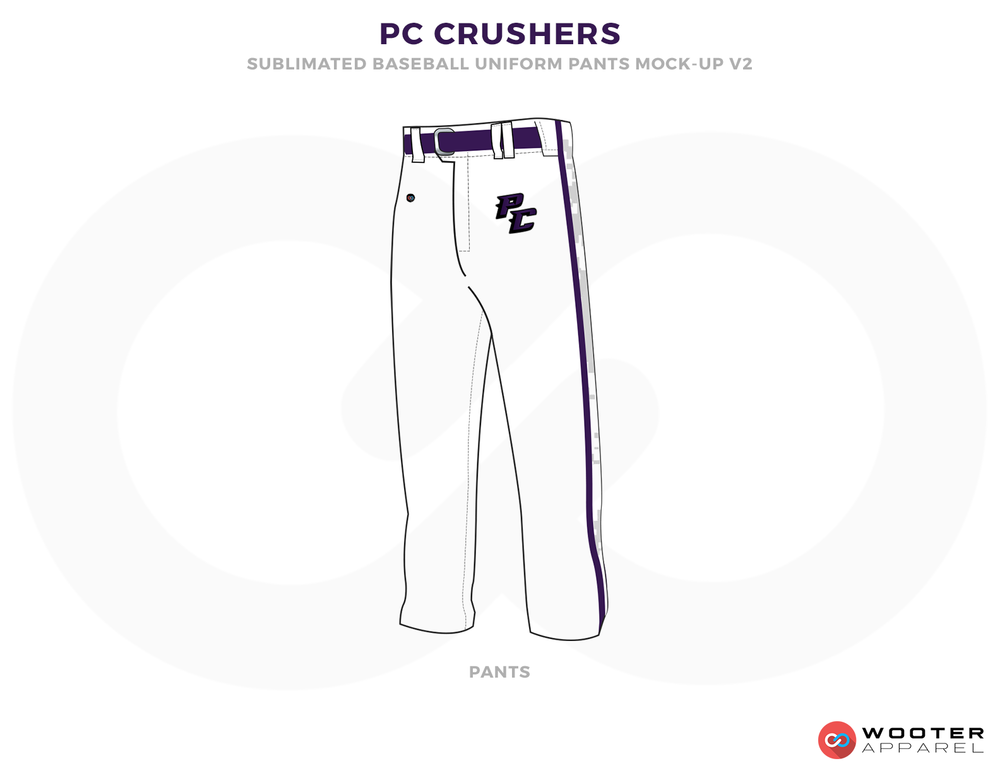 PC CRUSHERS White and Black Baseball Uniforms, Pants