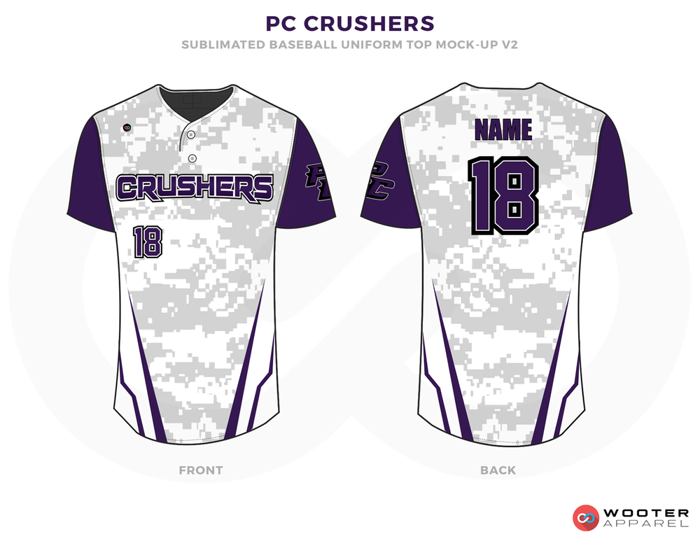 PC CRUSHERS Purple and White Baseball Uniforms, Shirts