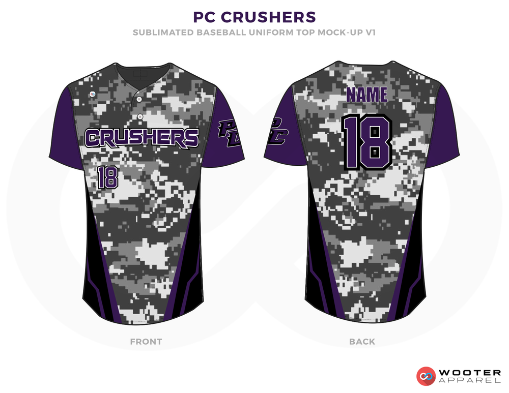 PC CRUSHERS Purple White Black Baseball Uniforms, Shirts