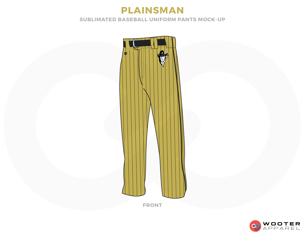 PLAINSMAN Black and Yellow Baseball Uniforms, Pants