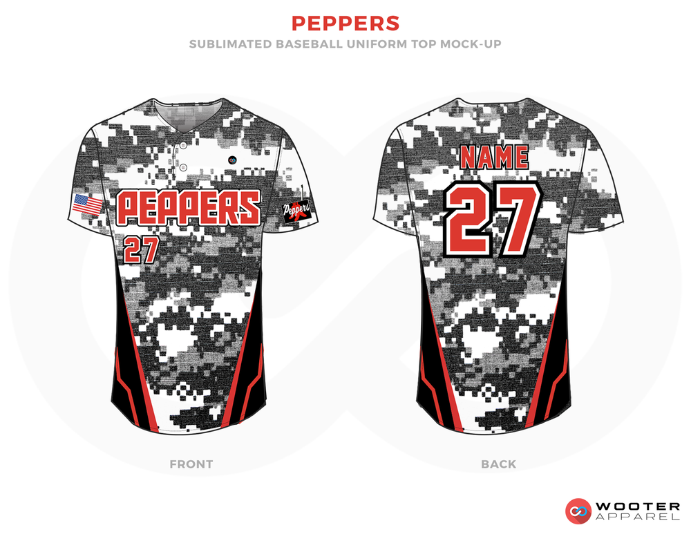 Peppers White Red Black and Gray Baseball Uniforms, Shirts