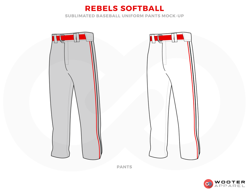 REELS SOFTBALL Red Gray and White Baseball Uniforms, Pants