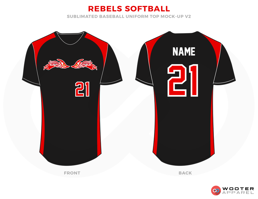 REBELS SOFTBALL Red Black and White Baseball Uniforms, Shirts