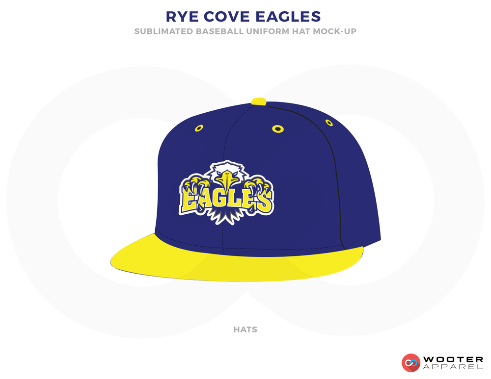 RYE COVE EAGLES Blue White and Yellow Baseball Uniforms, Caps