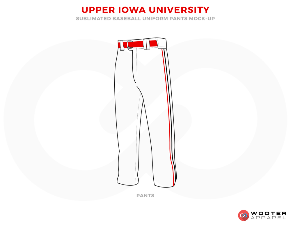 UPPER IOWA UNIVERSITY Red and White Baseball Uniforms, Pants