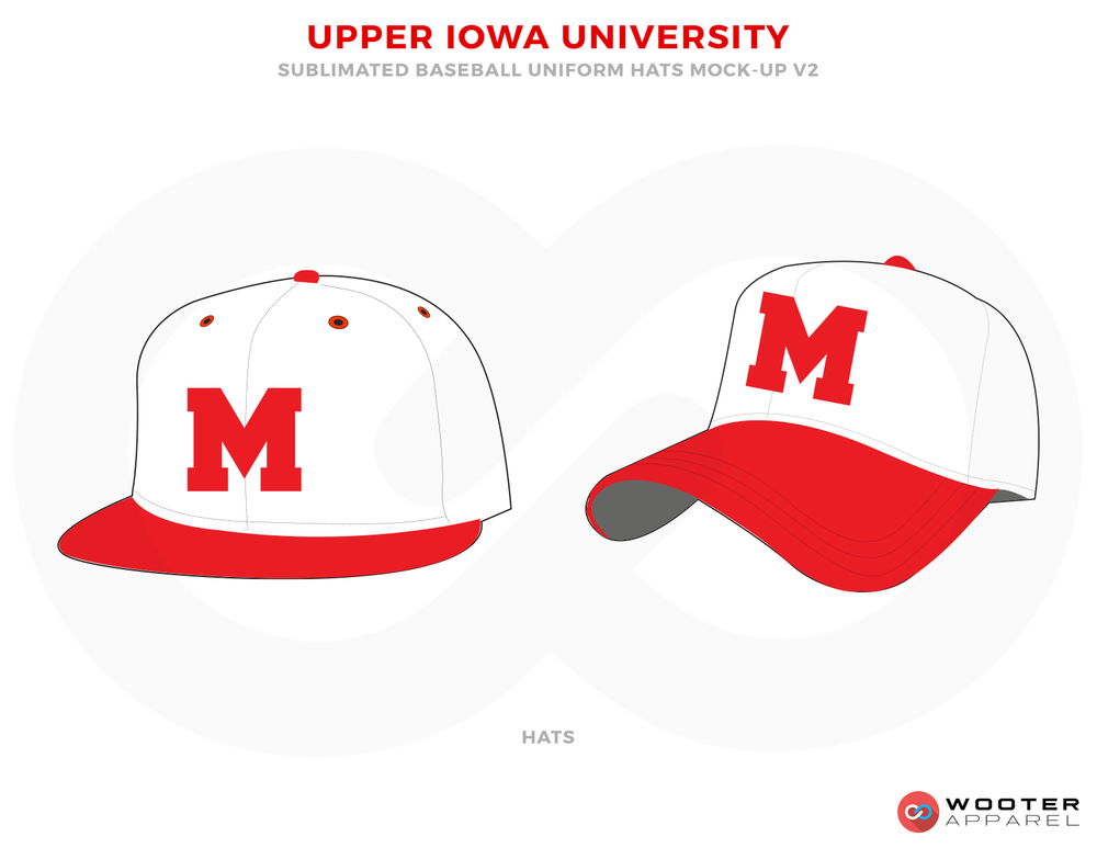 UPPER IOWA UNIVERSITY Red and White Baseball Uniforms, Caps