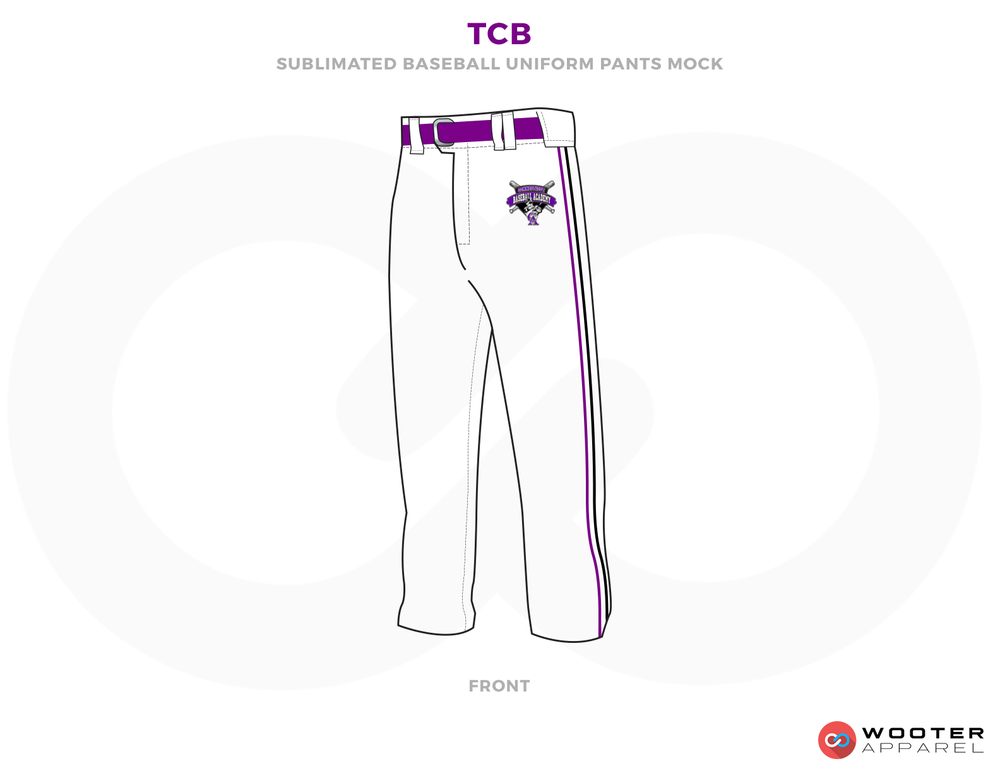 TCB White and Purple Baseball Uniforms, Pants