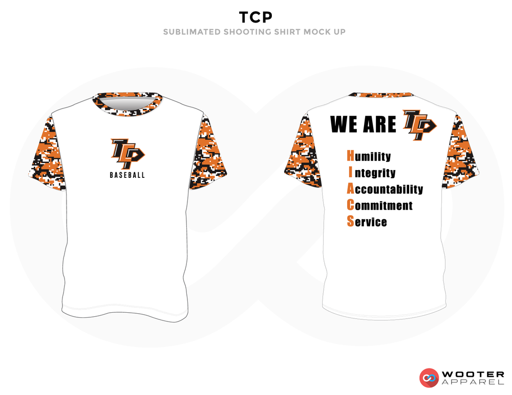 TCP Orange White and Black Baseball Uniforms, Shirts