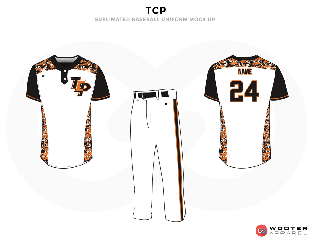 TCP Orange Black and White Baseball Uniforms, Shirts