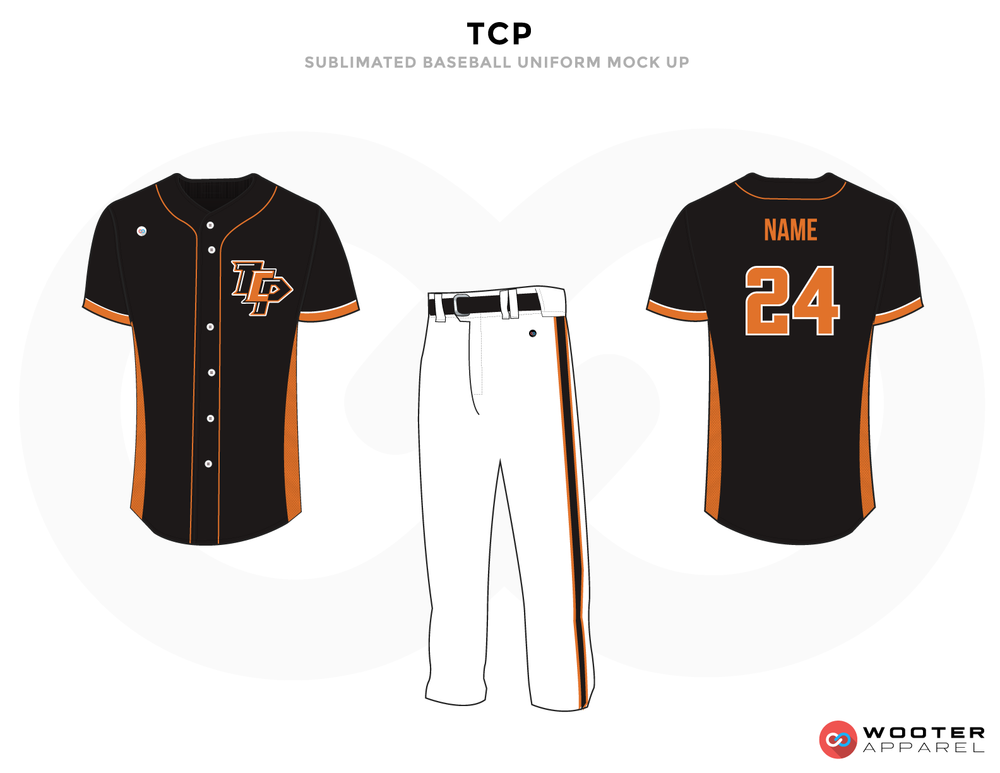 TCP Black White and Orange Baseball Uniforms, Shirt and Pants