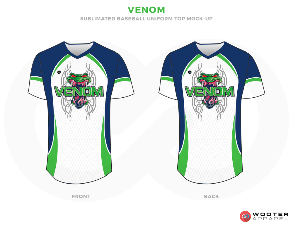 VENOM Blue Green and White Baseball Uniform, Shirt