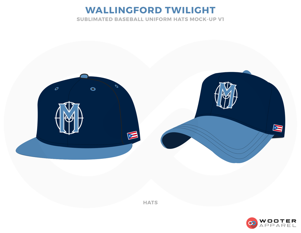 WALLINGFORD TWILIGHT Blue and Firozi Baseball Uniforms, Caps