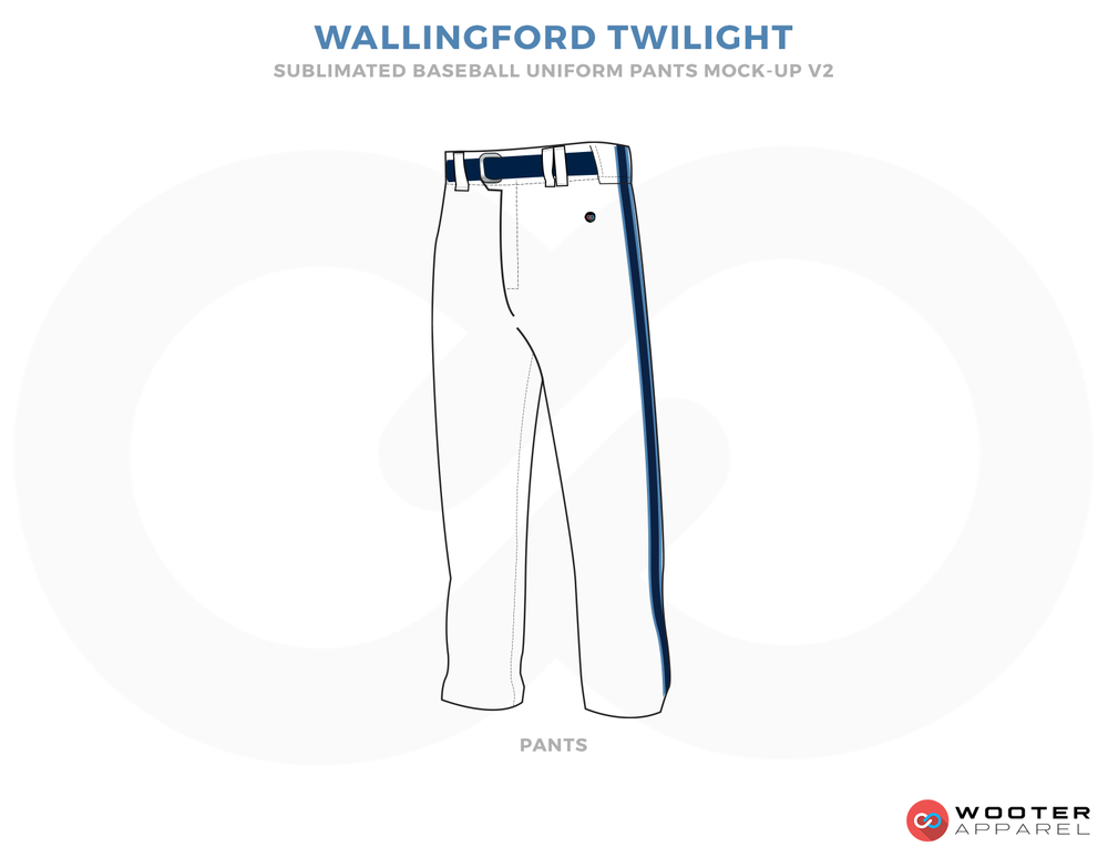 WALLINGFORD TWILIGHT White and Blue Baseball Uniforms, Pants