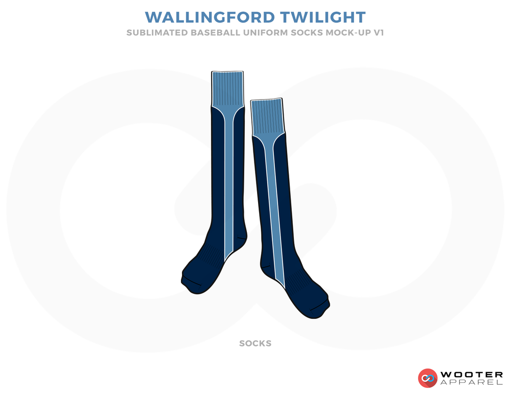 WALLINGFORD TWILIGHT Blue and Firozi Baseball Uniforms, Socks