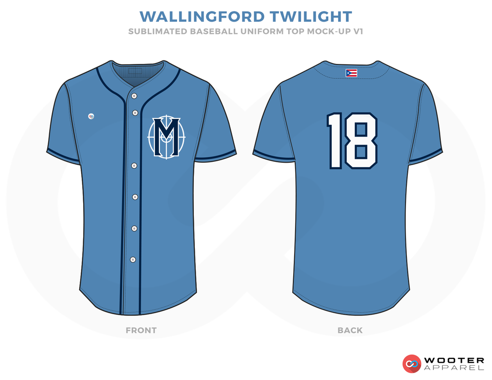 WALLINGFORD TWILIGHT Blue and White Baseball Uniforms, Shirt