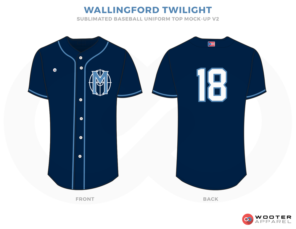 WALLINGFORD TWILIGHT Blue and White Baseball Uniforms, Shirts